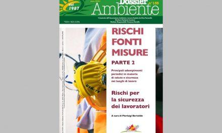 """Pubblicato Dossier Ambiente n. 135 """"RISCHI FONTI MISURE – Parte II – Rischi per la sicurezza dei lavoratori"""""""